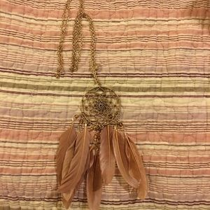 Boho dream catcher feather pendant